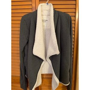Abercrombie and Fitch Gray Open Cardigan Sweater